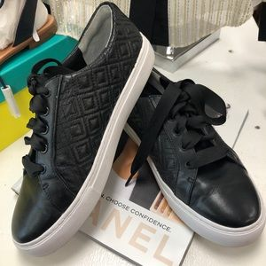 Tory Burch Shoes - Tory Burch Black Leather Marion Quilted Sneakers